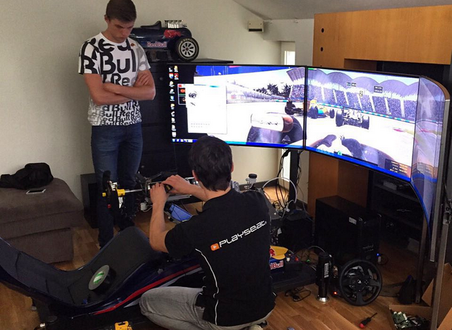 Max Verstappen with a Playseat® F1 Red Bull, Playseat® Motion System and Playseat® TV Stand PRO-3S
